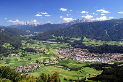 The city of Brunico, main city of the Kronplatz holiday region