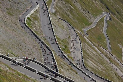 Cycling Day on the switchbacks of Stilfserjoch pass