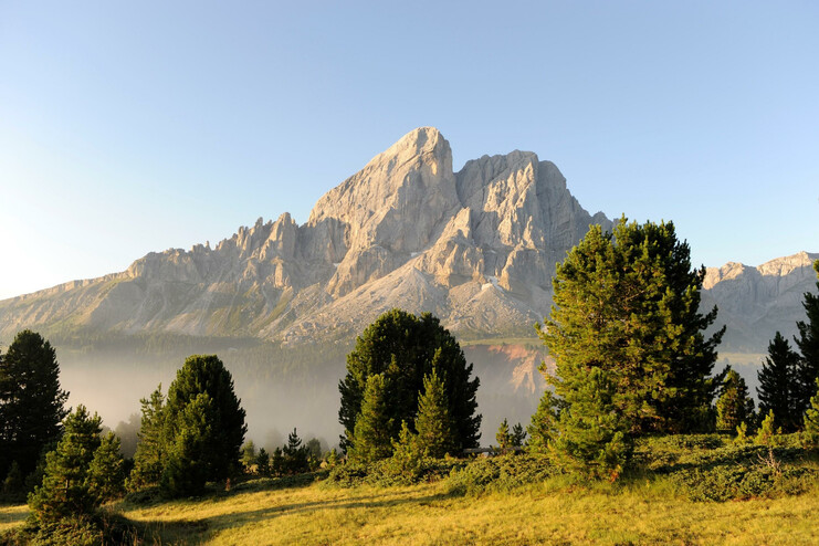 The Sass de Putia mountain near San Martino in Badia in Thurn, the main peak of the Gruppo della Putia chain